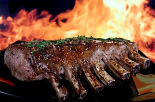 Grilling Lamb on Grill